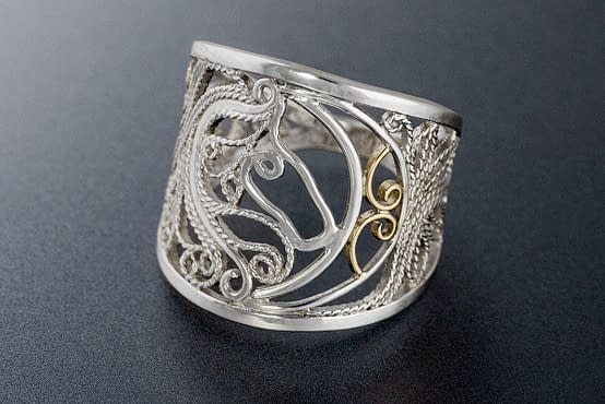"Laceworks Jewelry ""Horse Ride By Moonlight"" filigree ring"