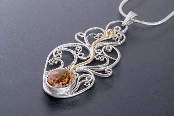 "Laceworks Jewelry ""Fireplant with Fire Opal"""